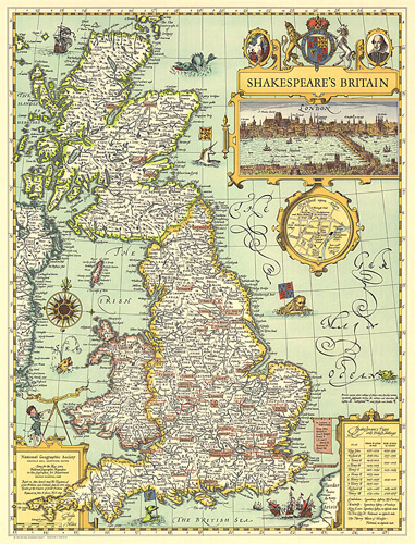 Atlas Map Of England.Shakespeares Britain Map
