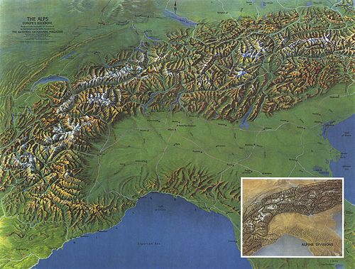 Alps, Europes Backbone Map