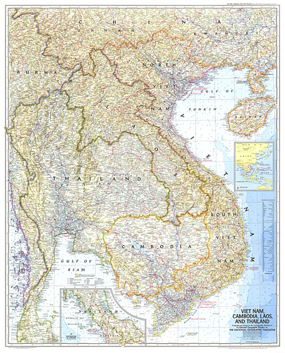 Vietnam, Cambodia, Laos, and Thailand Map