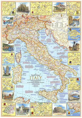 Map Of Italy For Tourists.Travelers Map Of Italy