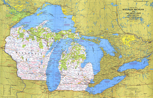 Closeup USA Wisconsin Michigan And The Great Lakes Map - Map of northern wisconsin lakes