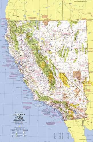 Map Of Nevada And California Close up USA, California and Nevada Map