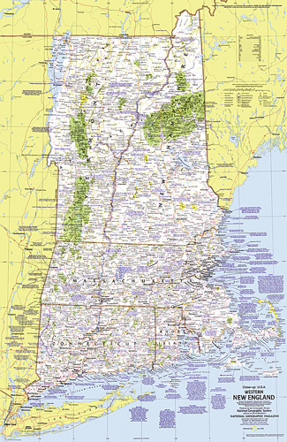 Appalachian Trail New England Map.Close Up Usa Western New England Map