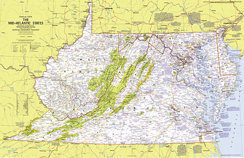 Mid Atlantic States Map.Close Up Usa Mid Atlantic States Map
