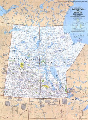 Saskatchewan and Manitoba Canada Map