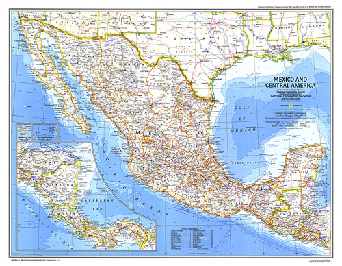 Cenral America Map.Mexico And Central America Map