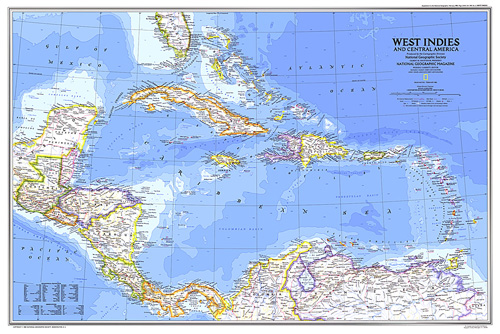 Cenral America Map.West Indies And Central America Map