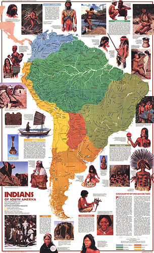 America Map.Indians Of South America Map