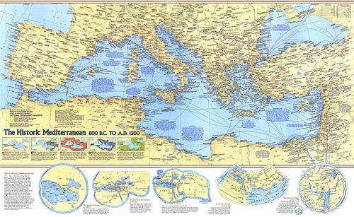 Historic Mediterranean 800 Bc To Ad 1500 Map
