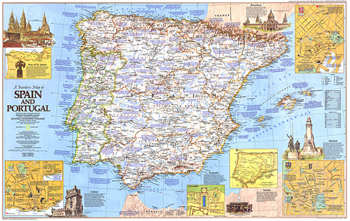 Travelers Map Of Spain And Portugal