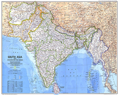South Asia With Afghanistan and Burma Map