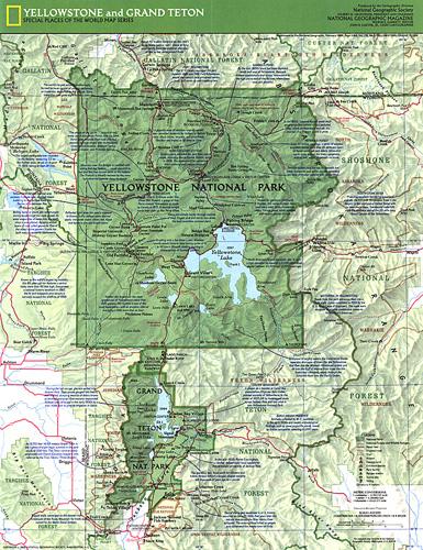 Yellowstone and Grand Teton Map Side 1