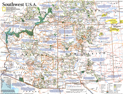 Southwest, USA Map on