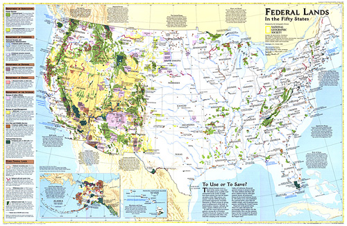 The Fifty States Map.Federal Lands In The Fifty States