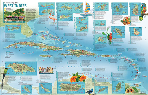 A travelers map of the west indies map of the west indies zoom gumiabroncs Choice Image