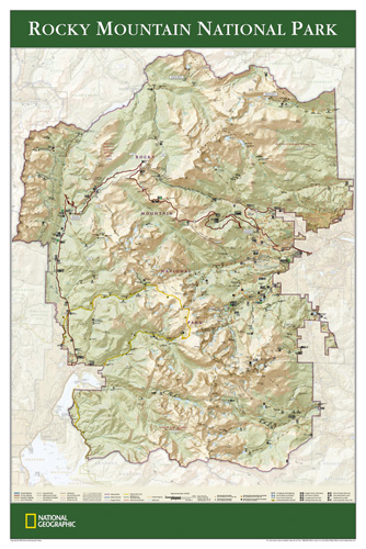 Topographic Map Rocky Mountains.Rocky Mountain National Park Map