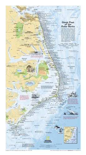 Ghost Fleet of the Outer Banks 1970 Map