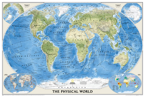 World Physical [Enlarged and Laminated]