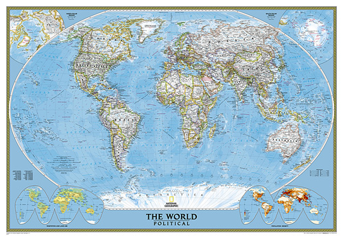 World classic mural world reference maps wall maps for Classic world map wall mural