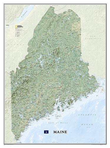 Topography Map Of Maine.Maine Laminated