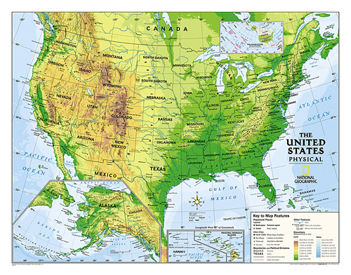 Us Physical Map For Kids Kids Physical USA Education: Grades 4 12 [Laminated] Map