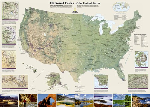National Parks of the United States Wall Map
