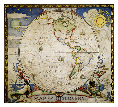 Map of Discovery, Western Hemisphere [Tubed]
