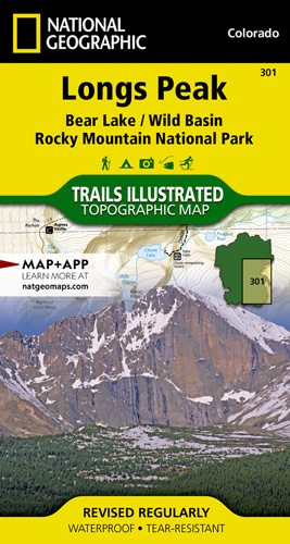 Topographic Map Rocky Mountains.Longs Peak Rocky Mountain National Park Bear Lake Wild Basin