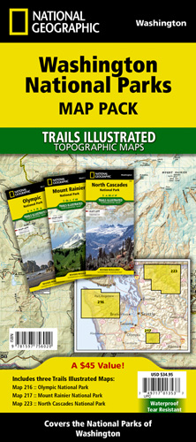 National Parks In Washington State Map.Washington National Parks Map Pack Bundle
