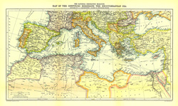 Countries Bordering the Mediterranean Sea Map