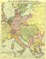 New Balkan States and Central Europe Map
