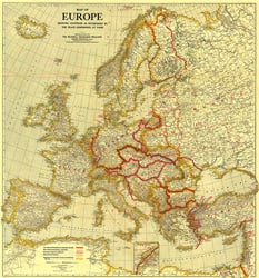 Map of Europe Showing the Countries Established by the Peace Conference of Paris