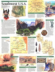 1992 Southwest Usa Map Land Of Open Sky
